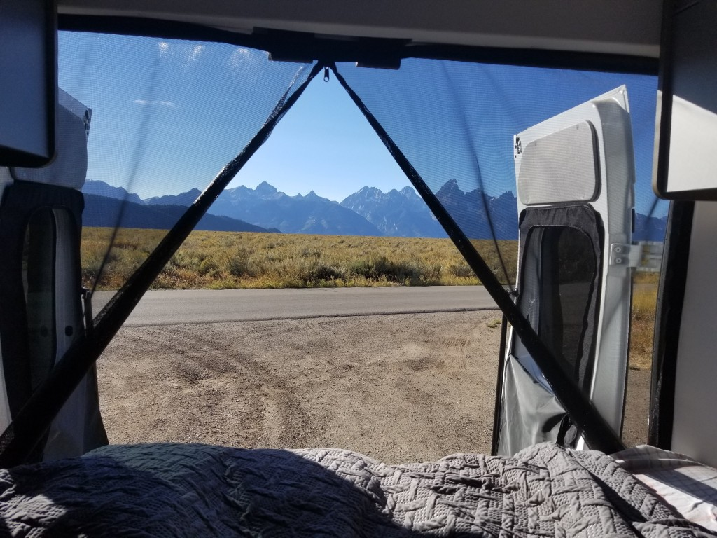 View of the Tetons from the Camper Van